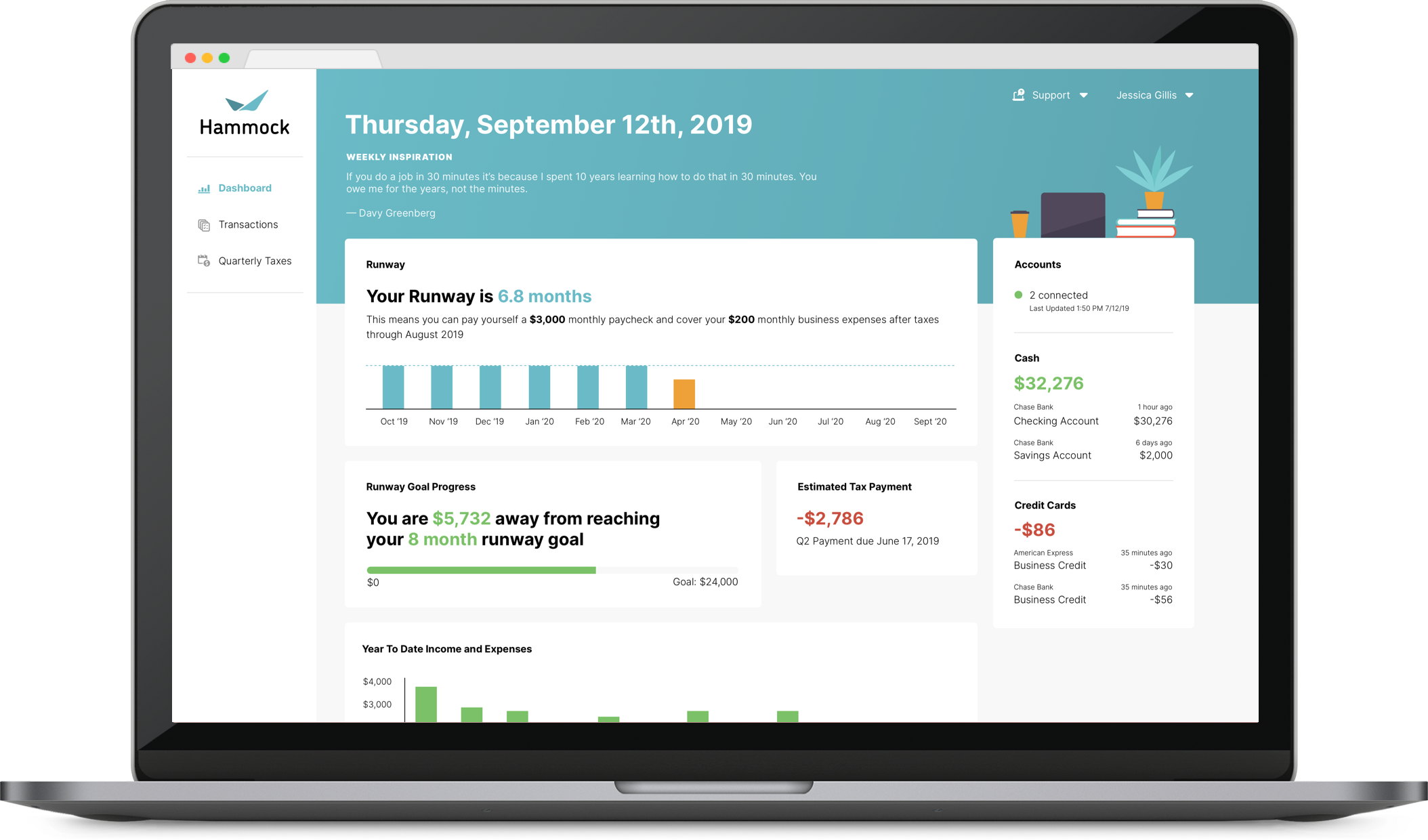 Using your income and expenses, Hammock will give you an always up-to-date view into your freelance finances.